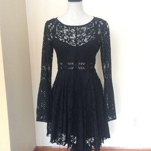 Free People Black Lace Long-sleeved Mini Dress